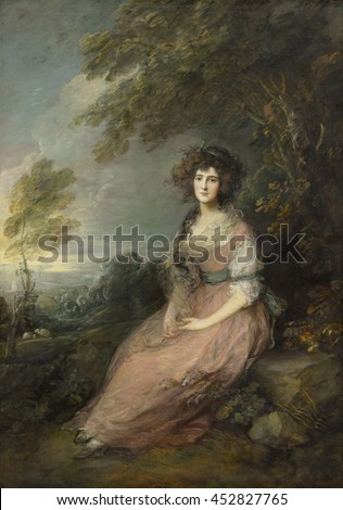 Mrs. Richard Brinsley Sheridan, by Thomas Gainsborough, 1785-87, British painting, oil on canvas. Elizabeth Linley was a noted soprano singer before her 1773 elopement with liberal politician and emi