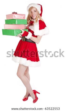Mrs Santa and presents - stock photo