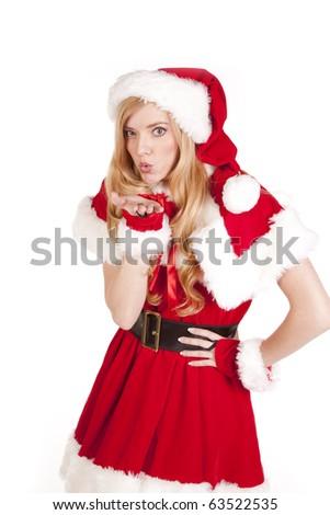 Mrs Santa is blowing a kiss - stock photo