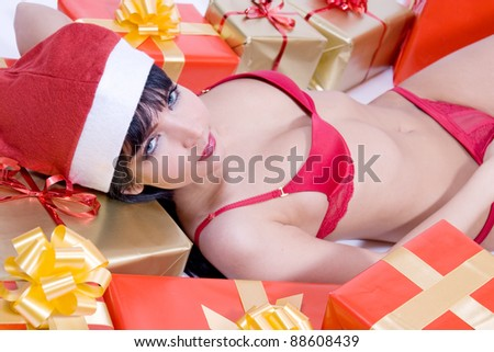 Mrs. Santa with gift boxes