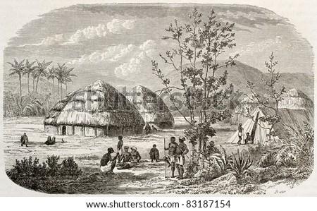 Msene village old view, Tanzania. Created by Lavieille after Burton, published on Le Tour du Monde, Paris, 1860 - stock photo