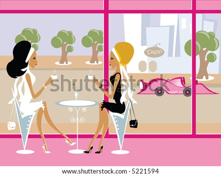 Mss Boo having coffee with a friend - stock photo