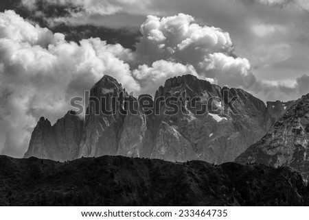 Mt Agner.  The Dolomites, Pale di San Martino.  Italy - stock photo