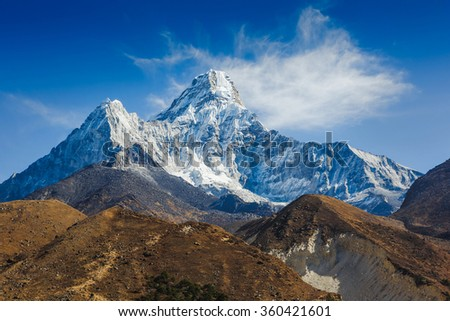 Mt. Ama Dablam in the Everest Region of the Himalayas, Nepal - stock photo