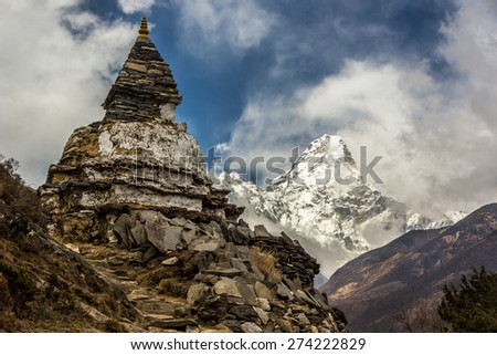 Mt.Amadablam with old pagoda on the way to Everest base camp, Nepal - stock photo