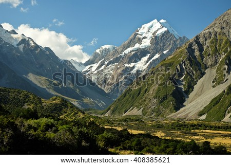 Mt. Cook and Hooker Valley From The Village. Mt. Cook National Park, Southern Alps, New Zealand - stock photo