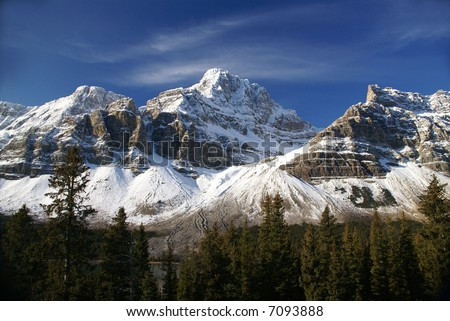 Mt. Crowfoot ,hanging glacier in cirque,Columbia Icefield Parkway,Alberta, Canada - stock photo