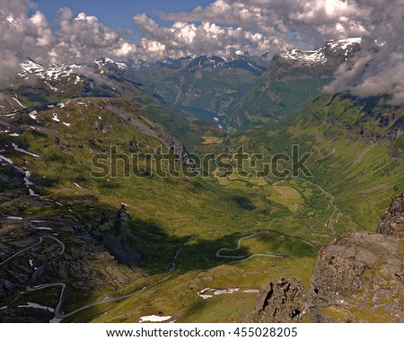 Mt. Dalsnibba mountain vista near Geiranger, Norway