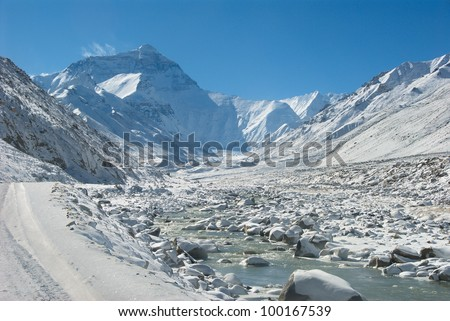 Mt. Everest from Rongbuk, a village/monastery beneath the base camp - stock photo