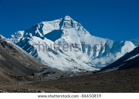 Mt. Everest in Tibet, China - stock photo