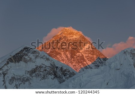 Mt. Everest (8848 m) at sunset (view from Kala Patthar) - Everest region, Nepal, Himalayas - stock photo