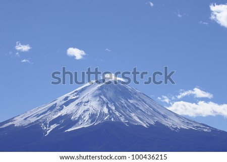 Mt Fuji  and blue sky   in  Yamanashi, Kantou ,japan