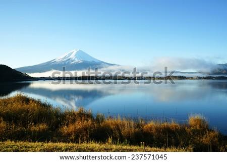Mt. Fuji and lake - stock photo
