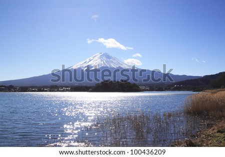 Mt.Fuji and  lake Kawaguch  in  Yamanashi, Kantou ,japan - stock photo