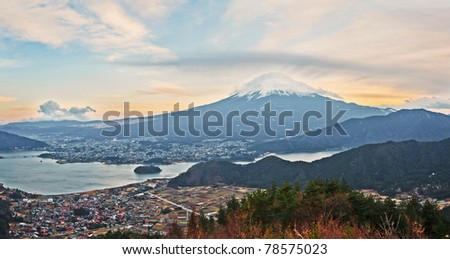 Mt Fuji and lake Kawaguchiko view from the top - stock photo