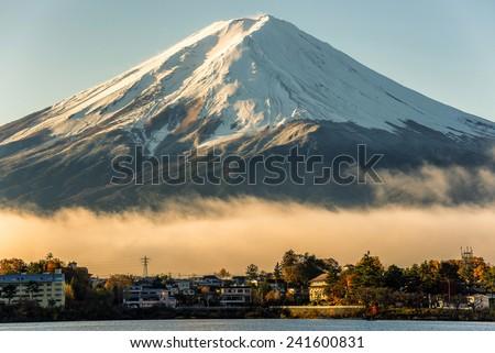 Mt fuji and the city around kawaguchi lake,japan - stock photo