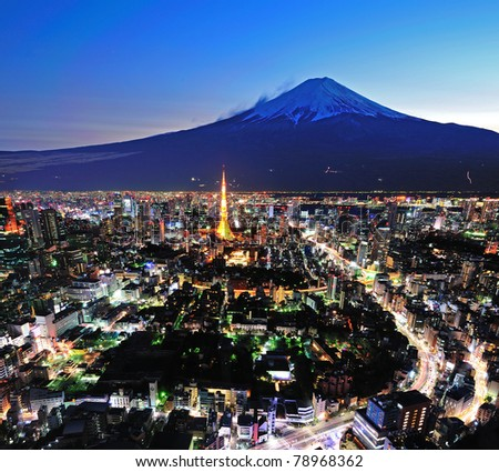 Mt Fuji and Tokyo City in twilight - stock photo