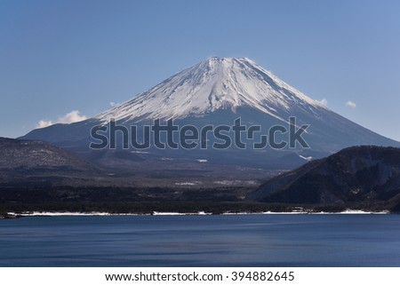 Mt. Fuji at Motosu Lake, Japan - stock photo