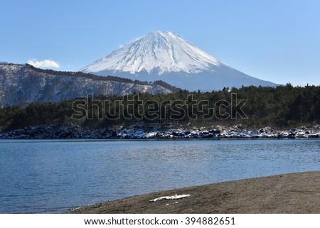 Mt.Fuji at Saiko Lake, Japan - stock photo