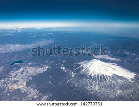 Mt Fuji bird eye view - stock photo