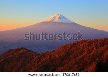 Mt. Fuji glows in the morning sun, Yamanashi, Japan - stock photo