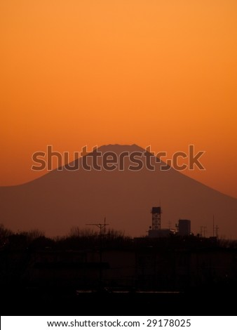 Mt. Fuji in sunset. Silhouette of Mt.Fuji shot from Tokyo area.