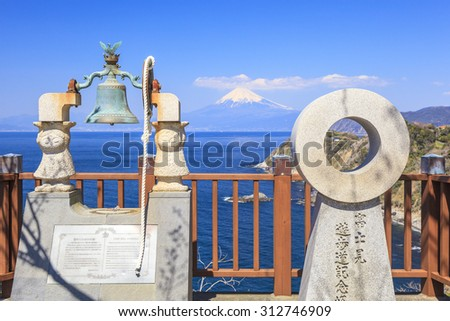 Mt. Fuji view from Lover�¢??s Cape, Shizuoka, Japan - stock photo