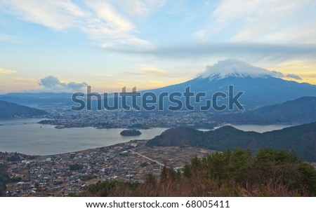 Mt Fuji view in twilight - stock photo