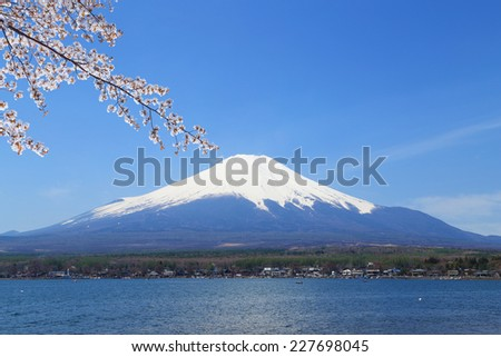 Mt.Fuji with Cherry Blossom at Lake Yamanaka, Yamanashi, Japan - stock photo