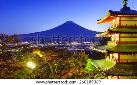 Mt. Fuji with Chureito Pagoda at night, Fujiyoshida, Japan - stock photo