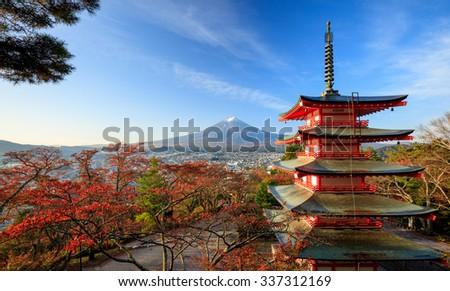 Mt. Fuji with Chureito Pagoda at sunrise in autumn, Fujiyoshida, Japan - stock photo