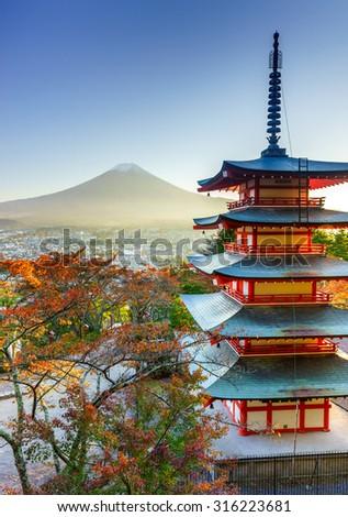 Mt. Fuji with Chureito Pagoda in autumn, Fujiyoshida, Japan - stock photo