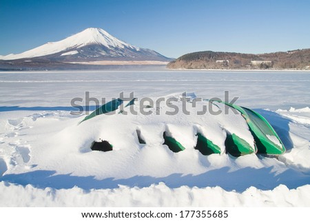 Mt.Fuji with some boats - stock photo