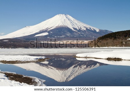 Mt.Fuji with the reflection - stock photo