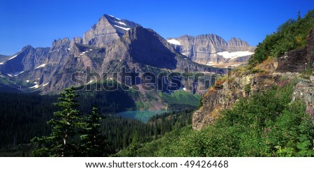 Mt. Gould and Grinnell Lake in Glacier National Park, Montana. - stock photo