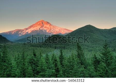 Mt Hood at Sunset - stock photo