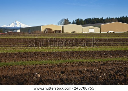 Mt. Hood overshadowing field and warehouses rural Oregon. - stock photo