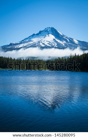 Mt. Hood seen from Trillium Lake, Oregon - stock photo