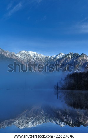 Mt. Hotaka mountain range from Japanese Arp Sioux Kamikochi	 - stock photo