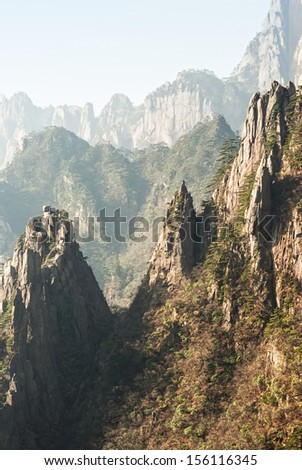 Mt Huangshan (Huangshan Mountains), Anhui Province, China. - stock photo