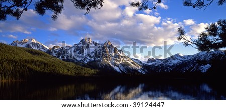 Mt. McGown reflecting in a lake in the Sawtooth National Forest of Idaho. - stock photo