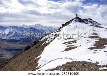 Mt. McKinley - across the Summit - stock photo