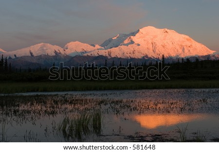 Mt. McKinley at Sunset - stock photo
