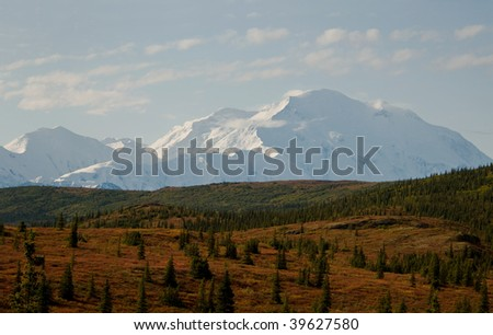 Mt McKinley in Denali National Park - stock photo
