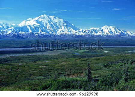 Mt McKinley viewed near Wonder Lake on a clear day - stock photo