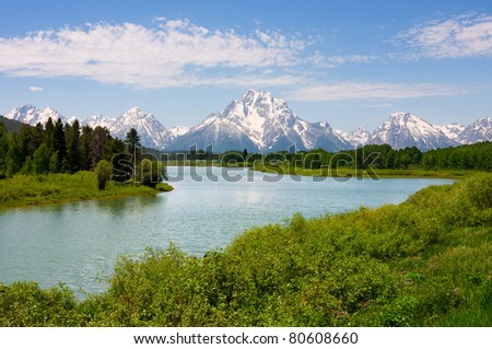 Mt. Moran at Oxbow Bend in the Grand Teton National Park, Wyoming. - stock photo