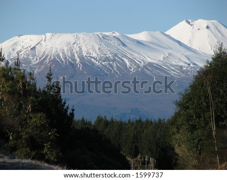 Mt Ngarahoe and Tongariro - stock photo