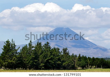 Mt. Ngauruhoe in Tongariro National Park, New Zealand. - stock photo