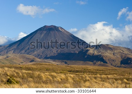 Mt. Ngauruhoe Volcano, Tongariro NP, New Zealand - stock photo