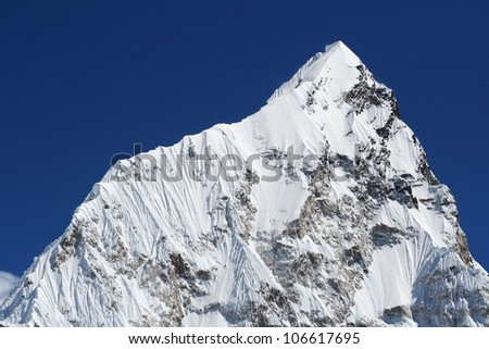 Mt. Nuptse in the Everest Region of the Himalayas, Nepal. - stock photo